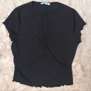She and Sky Black Keyhole Ribbed Top Size Large